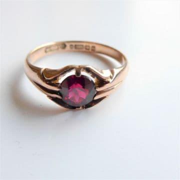 ANTIQUE Gent's Garnet Pinkie Ring in 9ct Rose Gold Size: U 1/2 Hallmarked 1909